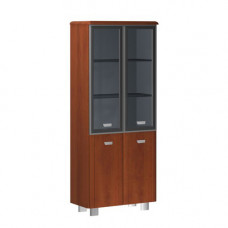 Шкаф широкий высокий четырехдверный со стеклом в алюминиевой раме без боковых панелей и топа Senat