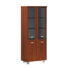 Шкаф широкий высокий четырехдверный со стеклом в деревянной раме без боковых панелей и топа Senat